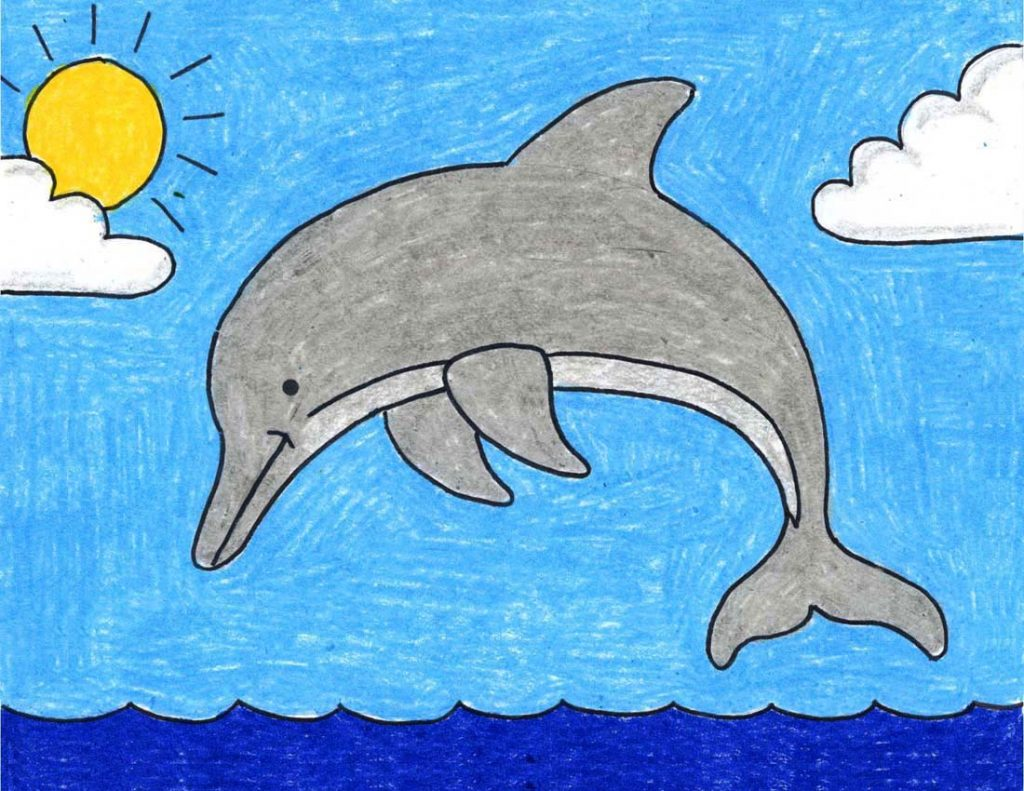 Draw a Dolphin · Art Projects for Kids