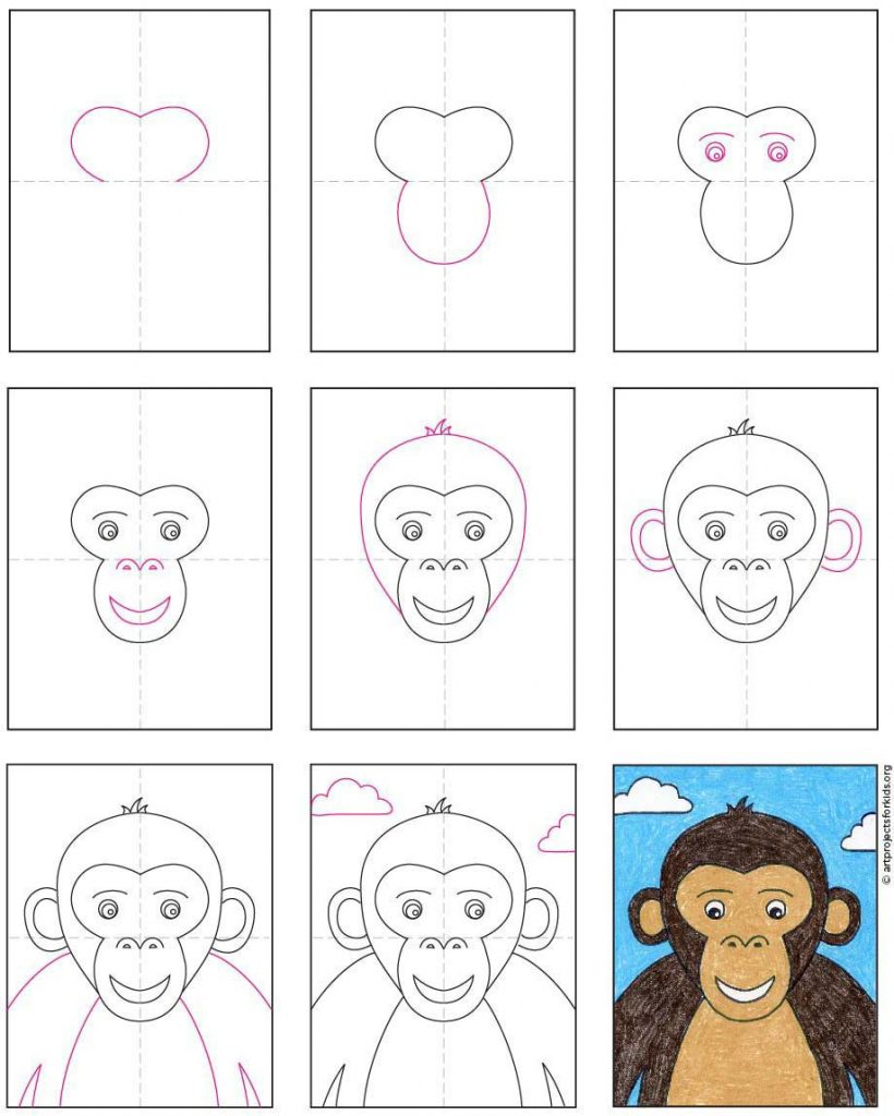 How to Draw a Monkey Face