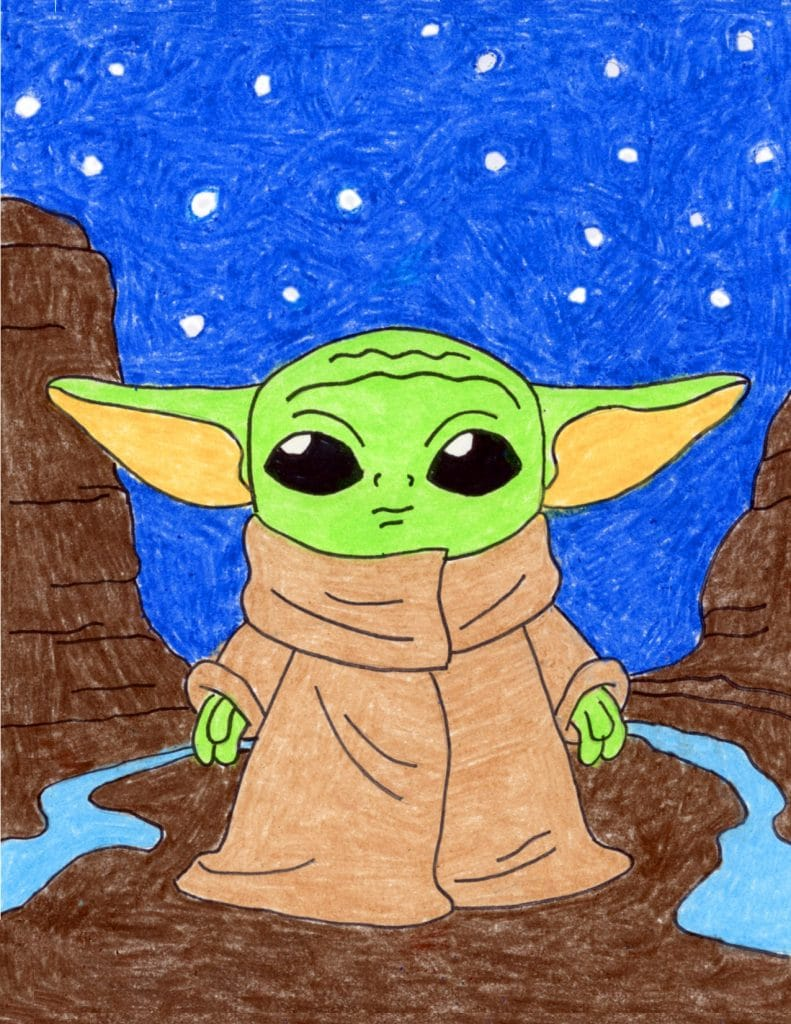 Draw Baby Yoda in Space · Art Projects for Kids