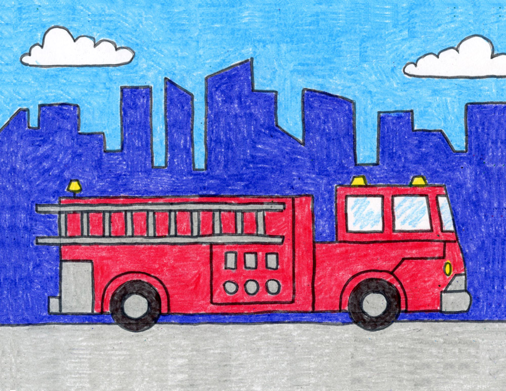 How To Draw A Fire Truck Art Projects For Kids