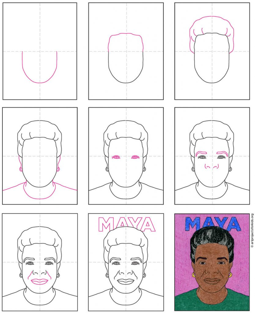 how to draw Maya Angelou