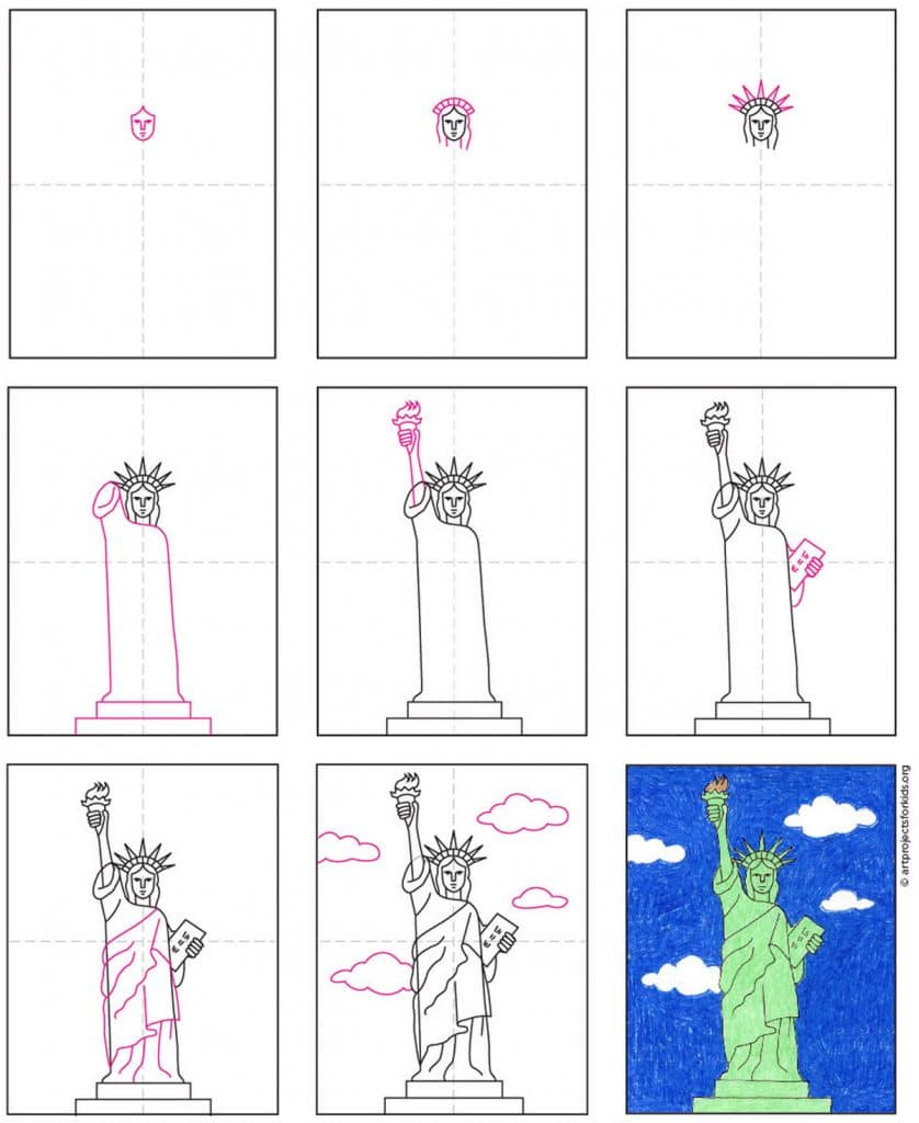 Draw the Statue of Liberty Step by Step