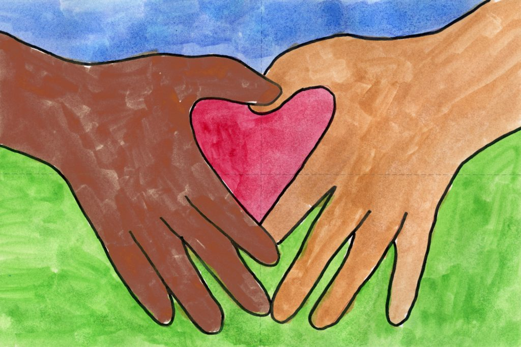 Draw Two Hands and One Heart · Art Projects for Kids
