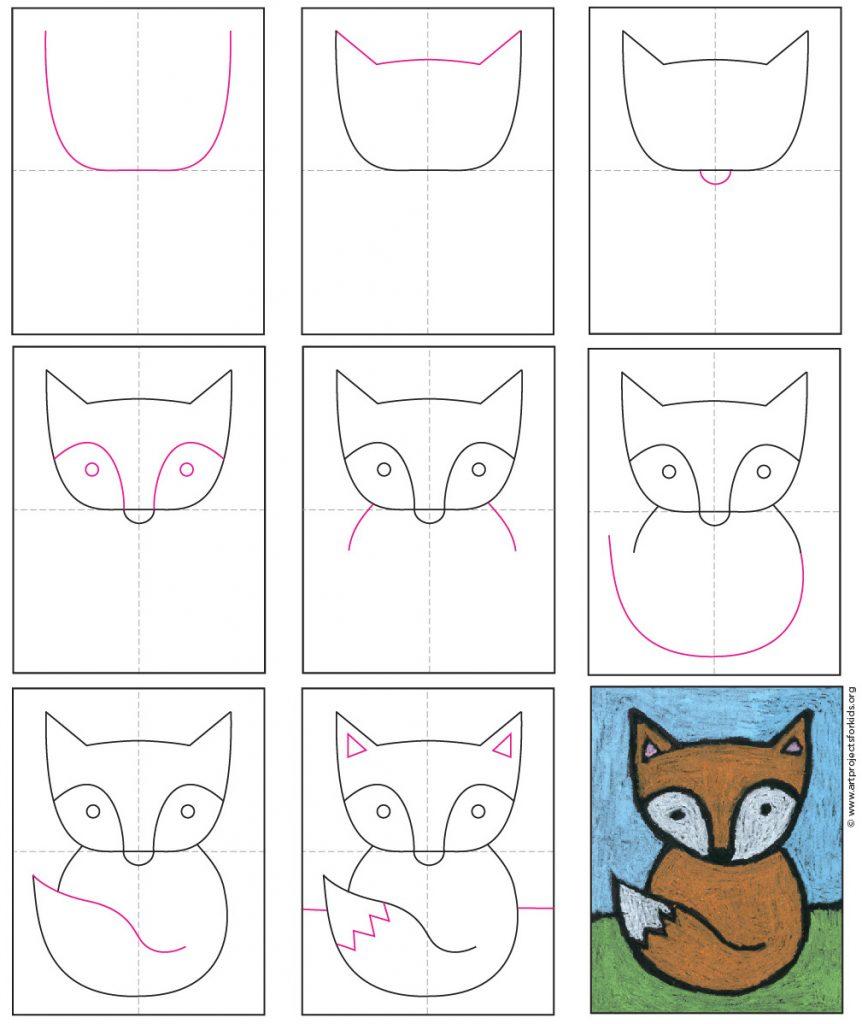 baby fox drawing
