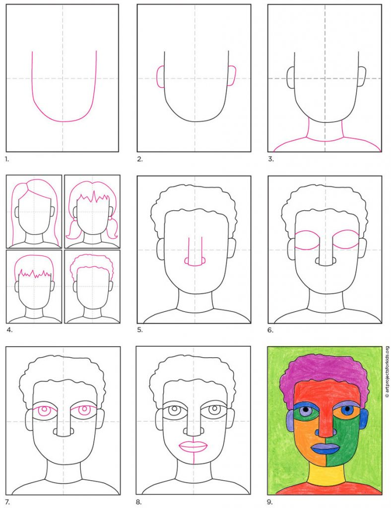 How To Draw An Abstract Self Portrait Art Projects For Kids