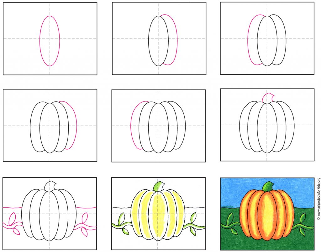 How To Draw An Easy Pumpkin Art Projects For Kids