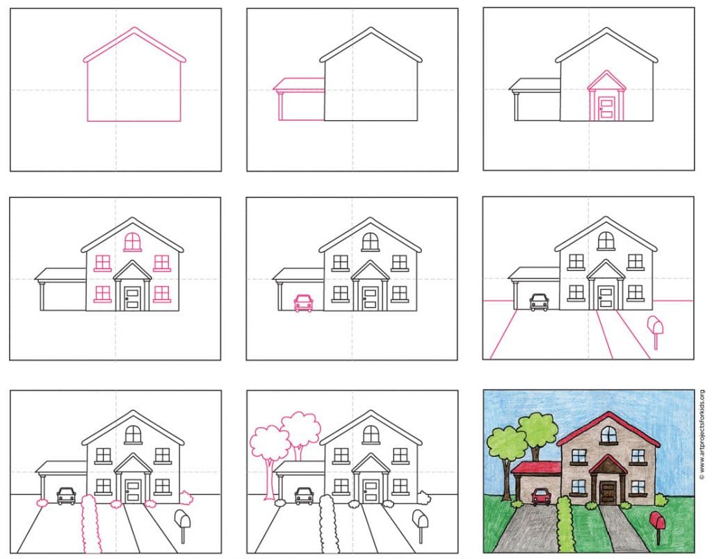 Draw A House In The Suburbs Art Projects For Kids