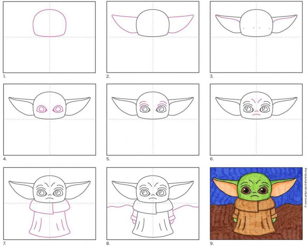 How To Draw Baby Yoda Art Projects For Kids