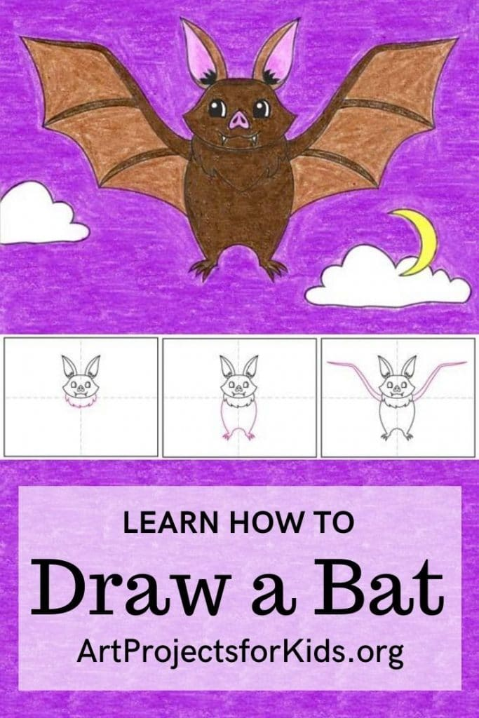 Inside you'll find an easy step-by-step how to draw a bat tutorial and bat coloring page.