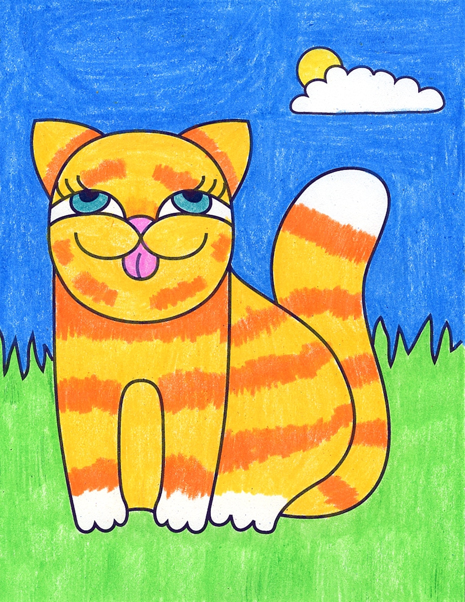 How To Make Cute Drawings With A Cartoon Cat Art Projects For Kids