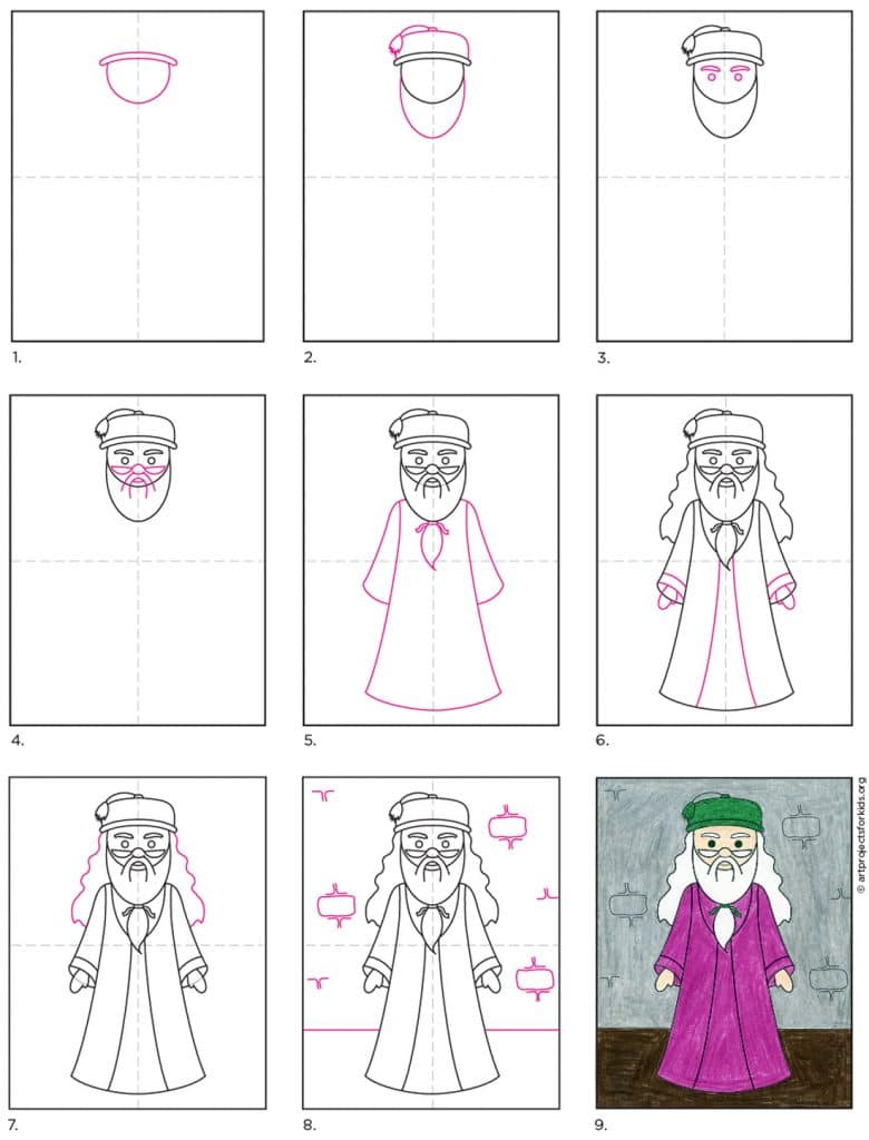 How To Draw Dumbledore Art Projects For Kids