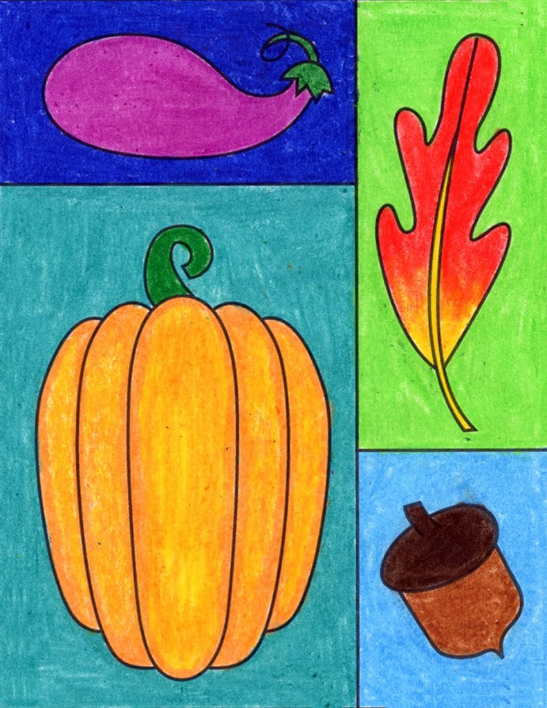 Easy Fall Drawing Ideas, made with the help of an easy step by step tutorial.