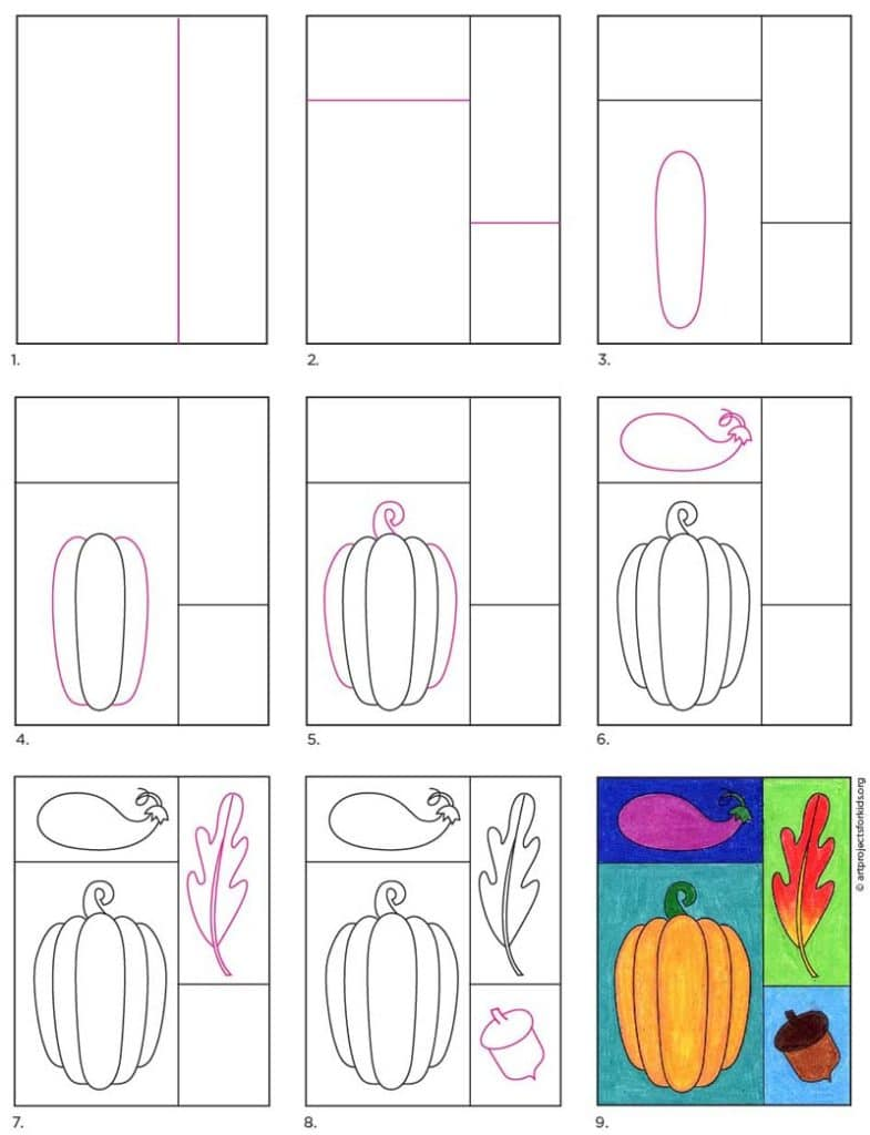 A step by step tutorial for Fall Drawing ideas, also available as a free download.