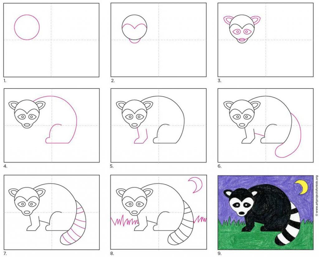 How to Draw a Raccoon · Art Projects for Kids