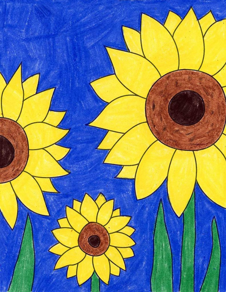 How To Draw A Sunflower Art Projects For Kids