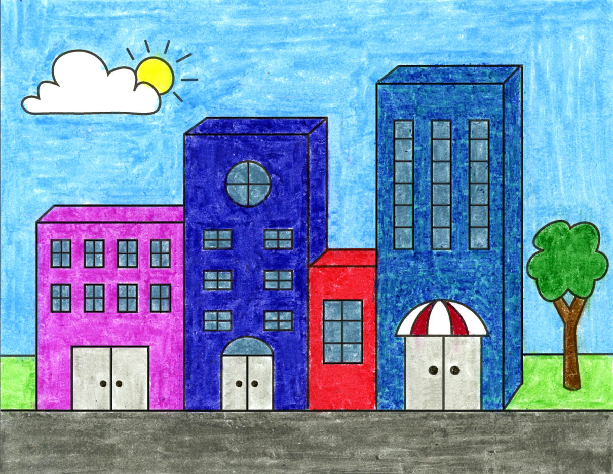 How to Draw Easy 3D Buildings · Art Projects for Kids