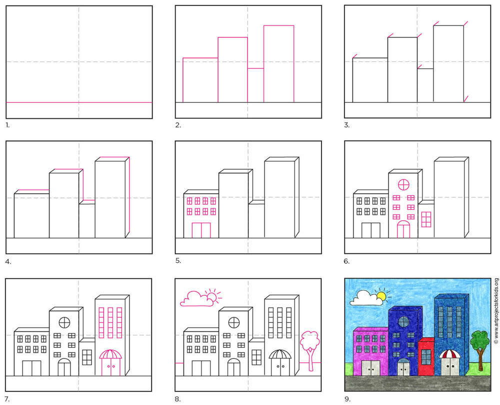 How To Draw Easy 3d Buildings Art Projects For Kids