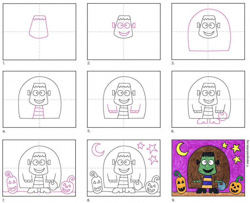 How to Draw a Cute Frankenstein