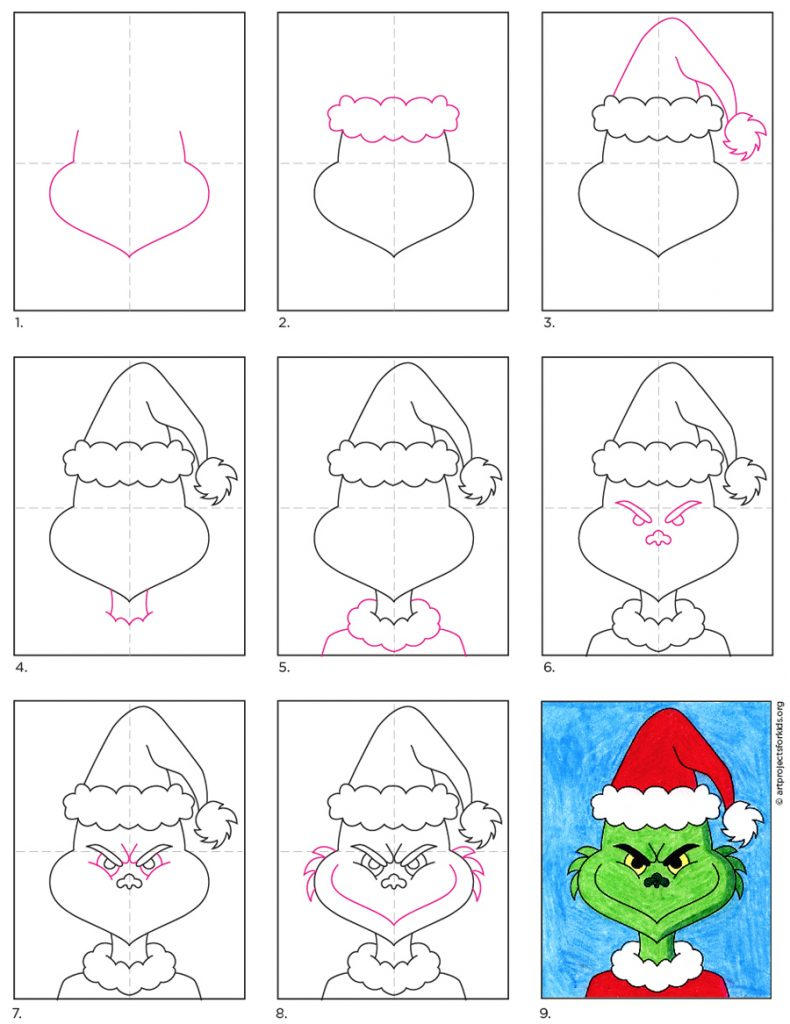 How To Draw The Grinch Art Projects For Kids