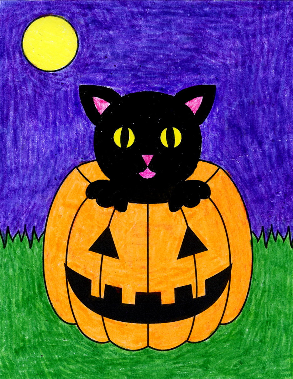 An Halloween.How To Draw A Halloween Cat Art Projects For Kids