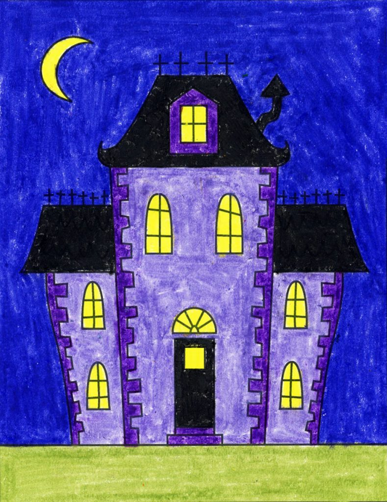 How To Draw An Easy Haunted House Art Projects For Kids