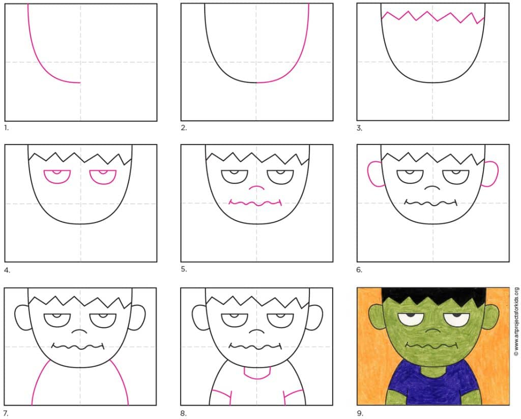 A step by step tutorial for how to draw Crankenstein, also available as a free download.