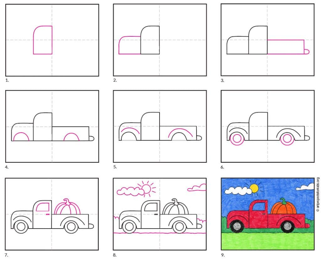 A step by step tutorial for and easy pickup truck drawing.