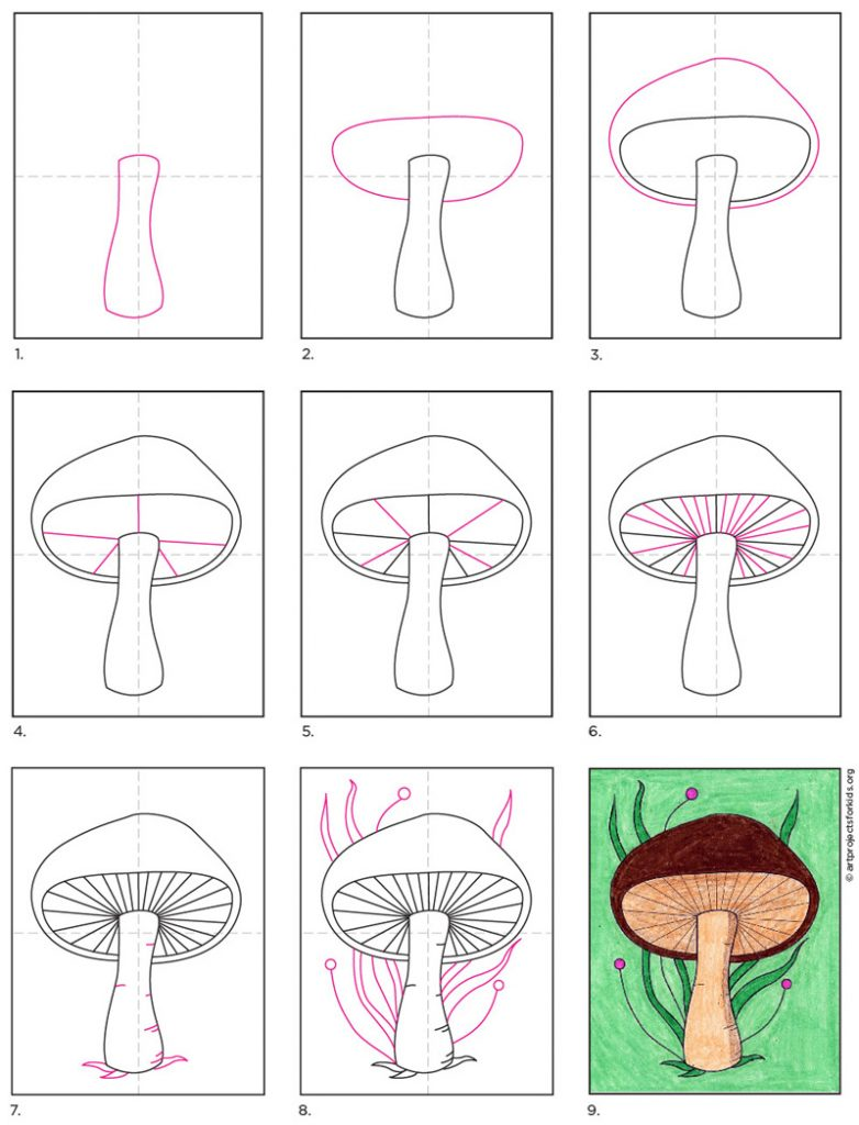 How to Draw a Mushroom · Art Projects for Kids