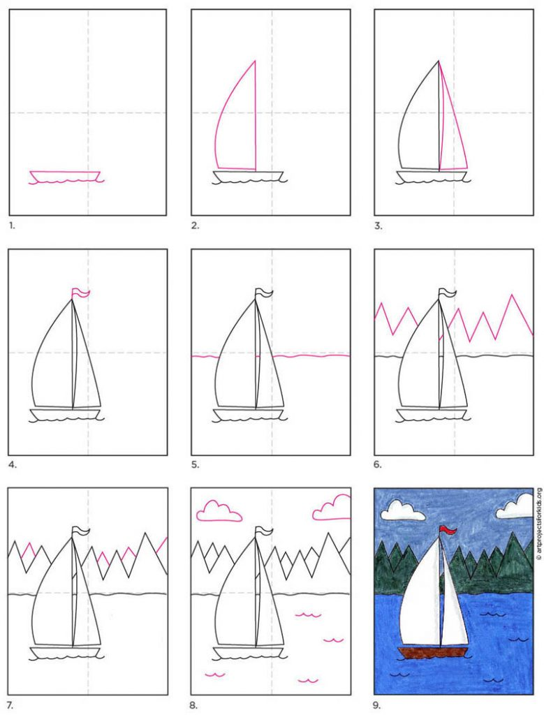 How to Draw a Sailboat · Art Projects for Kids