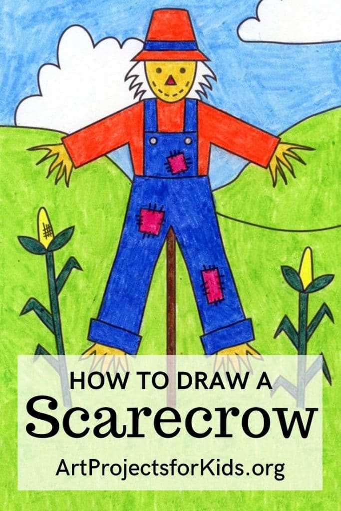 A drawing of a scarecrow, made with the help of an easy step by step tutorial.