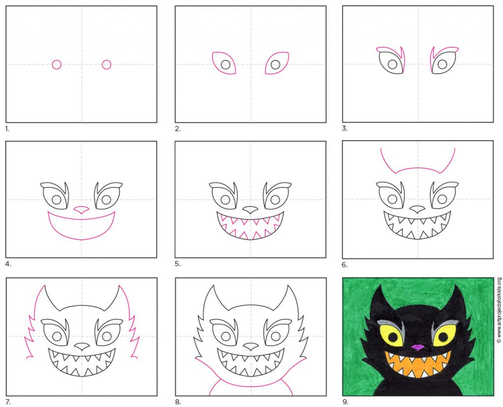 how to draw a Scary Cat