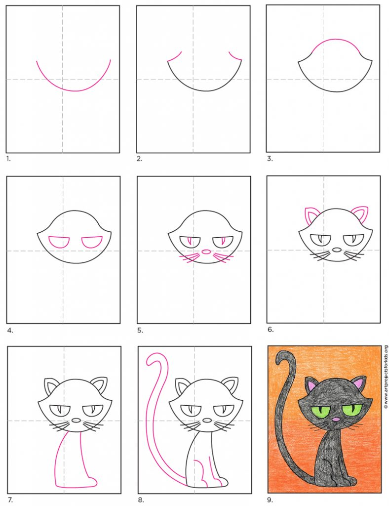How To Draw A Cartoon Black Cat Art Projects For Kids