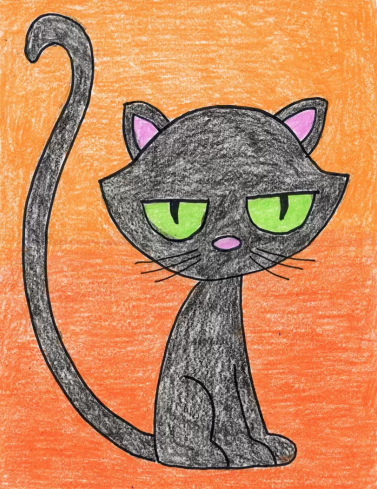 How To Draw A Cartoon Black Cat Art Projects For Kids With tenor, maker of gif keyboard, add popular cartoon cat animated gifs to your conversations. how to draw a cartoon black cat art
