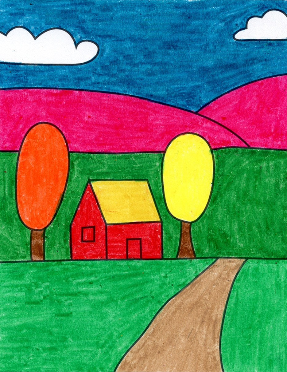 How To Draw An Easy Landscape Art Projects For Kids
