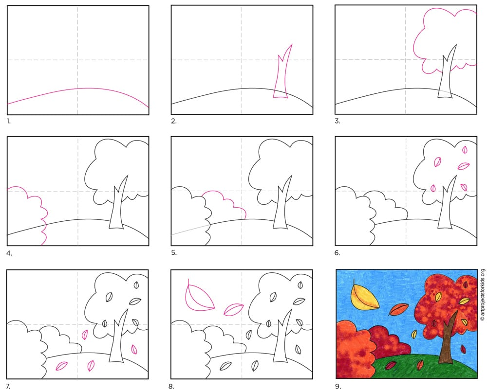 A step by step tutorial for how to draw an easy fall tree, which is available as a free download.