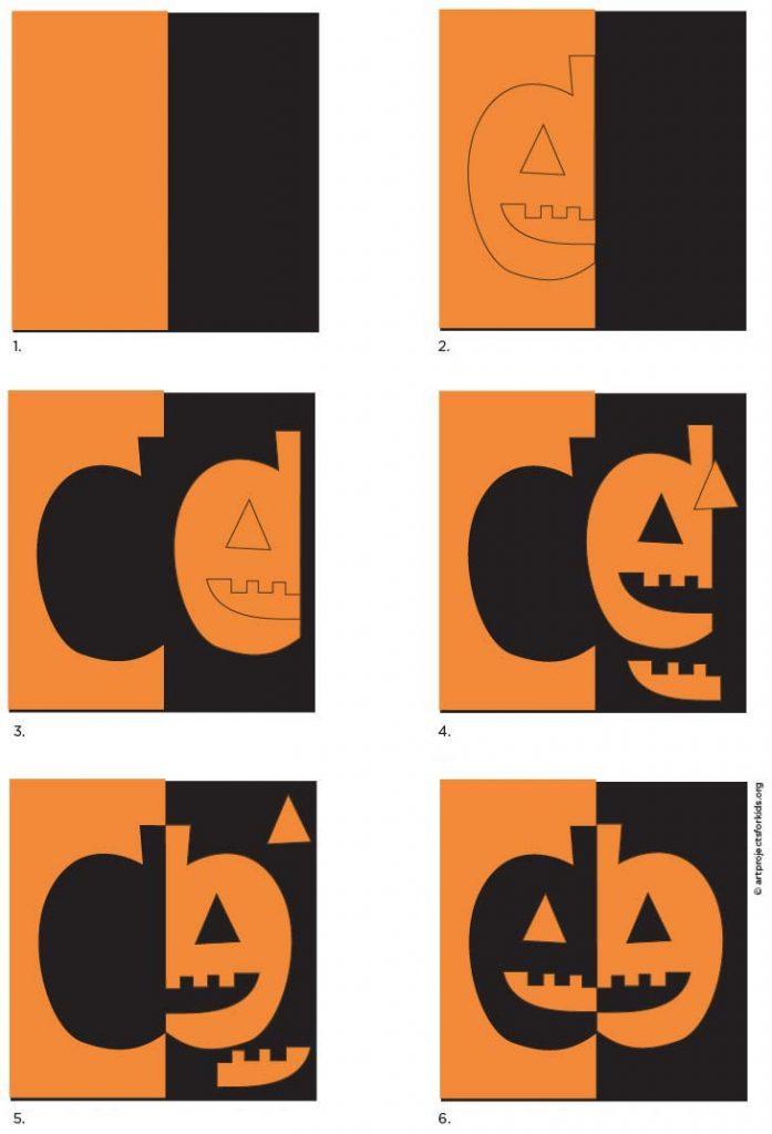 Diagram of how to make a positive - negative pumpkin.