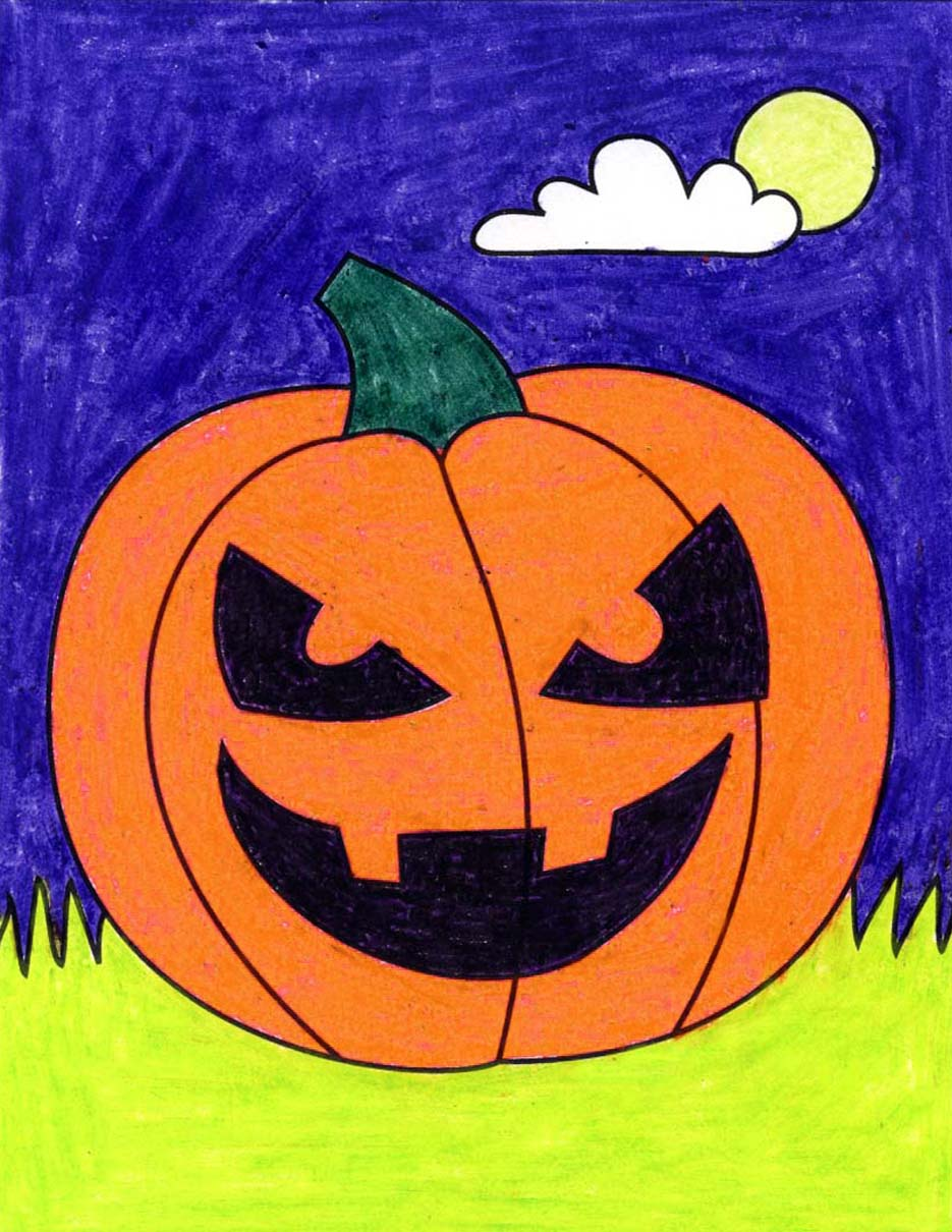 How To Draw A Halloween Pumpkin Art Projects For Kids