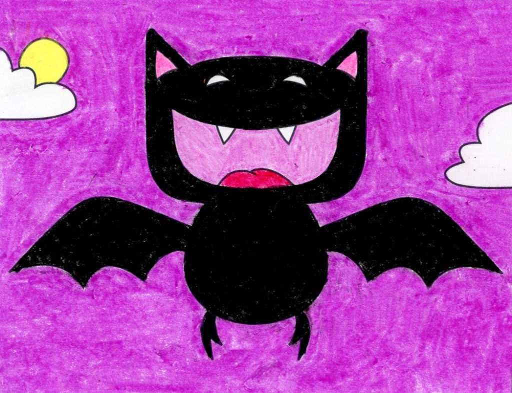 A drawing of a Cartoon Vampire Bat, made with the help of an easy step by step tutorial.