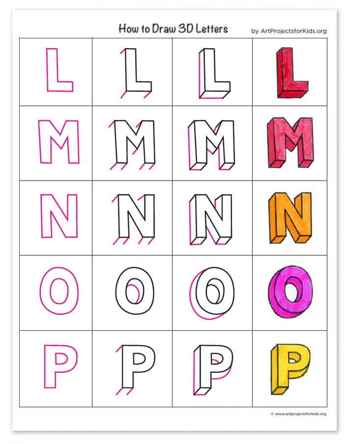 How To Draw 3d Letters Art Projects For Kids