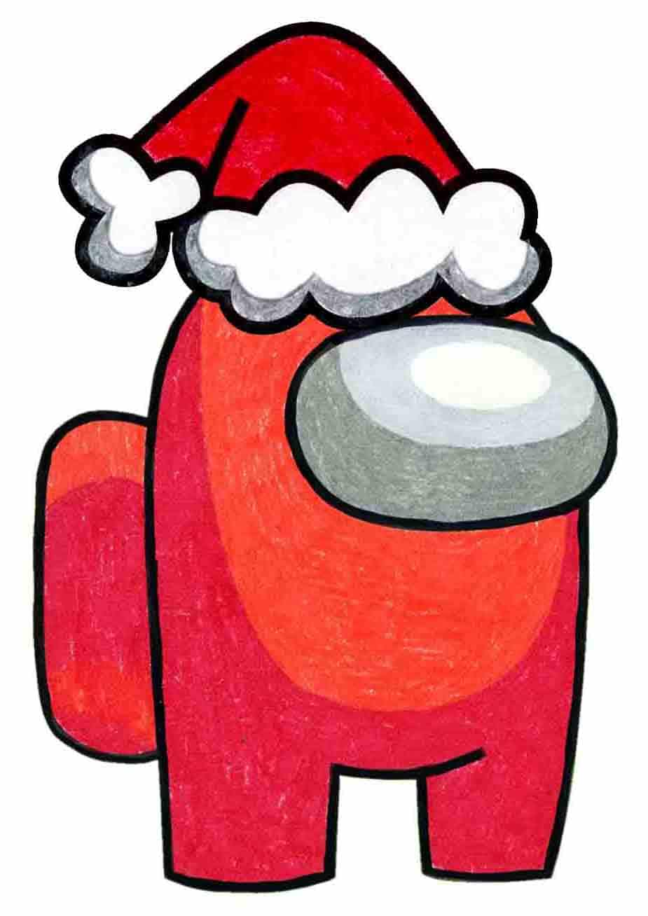 How To Draw Among Us Santa Art Projects For Kids