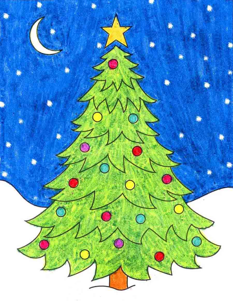 How To Draw An Easy Christmas Tree Art Projects For Kids Add the foliage and insert some smaller branches within your creation. how to draw an easy christmas tree