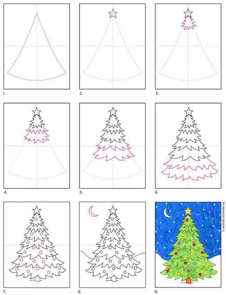 How to Draw an Easy Christmas Tree