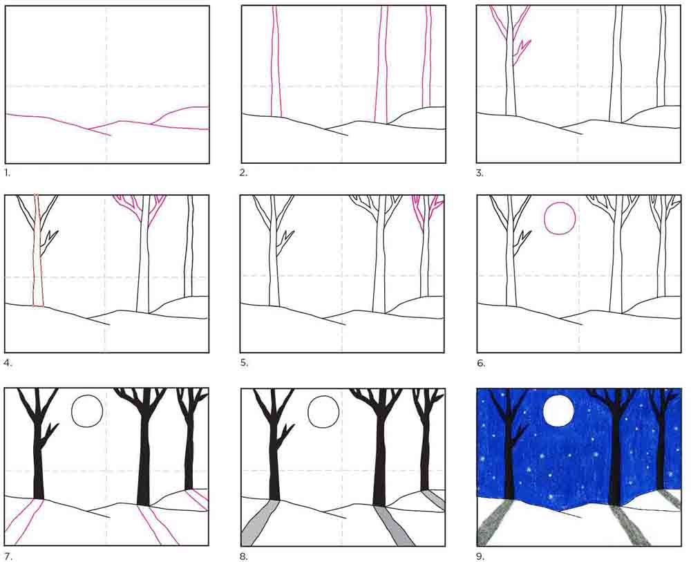 How to Draw a Winter Landscape
