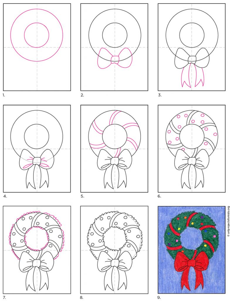How To Draw A Christmas Wreath Art Projects For Kids