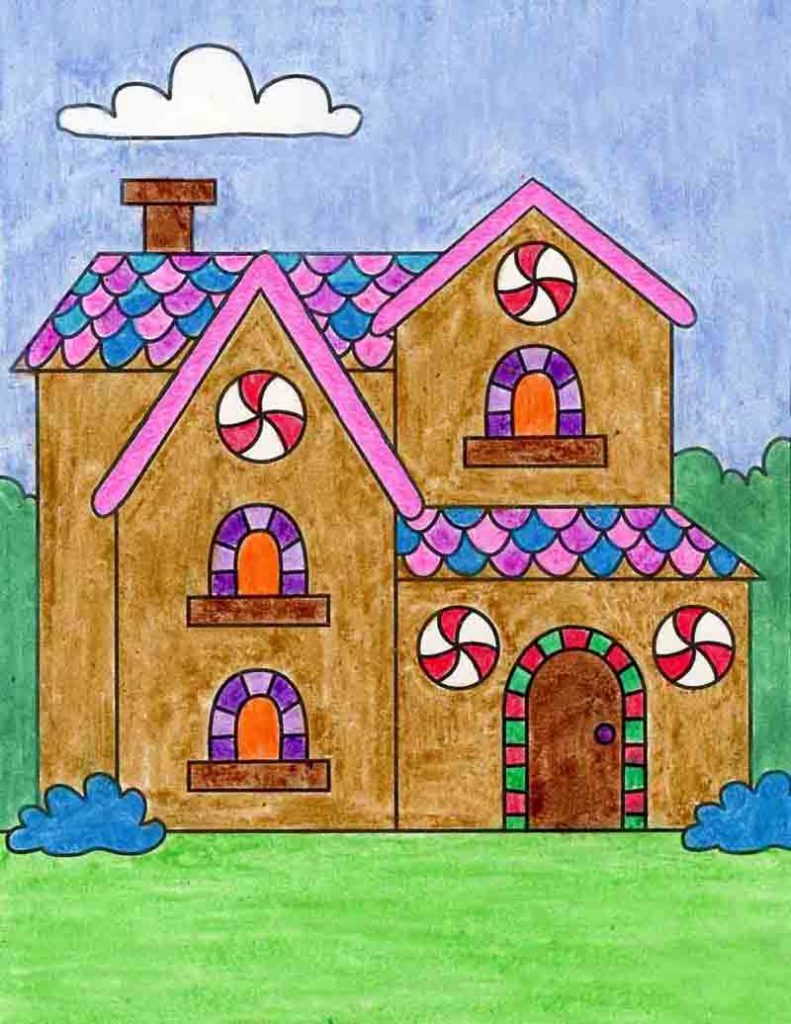 draw a deluxe gingerbread house