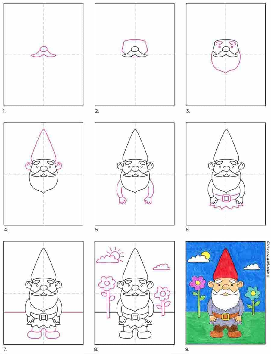 How To Draw A Gnome Art Projects For Kids