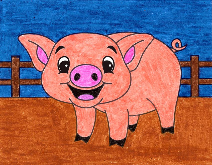 A cute and happy cartoon pig drawn in a barnyard setting