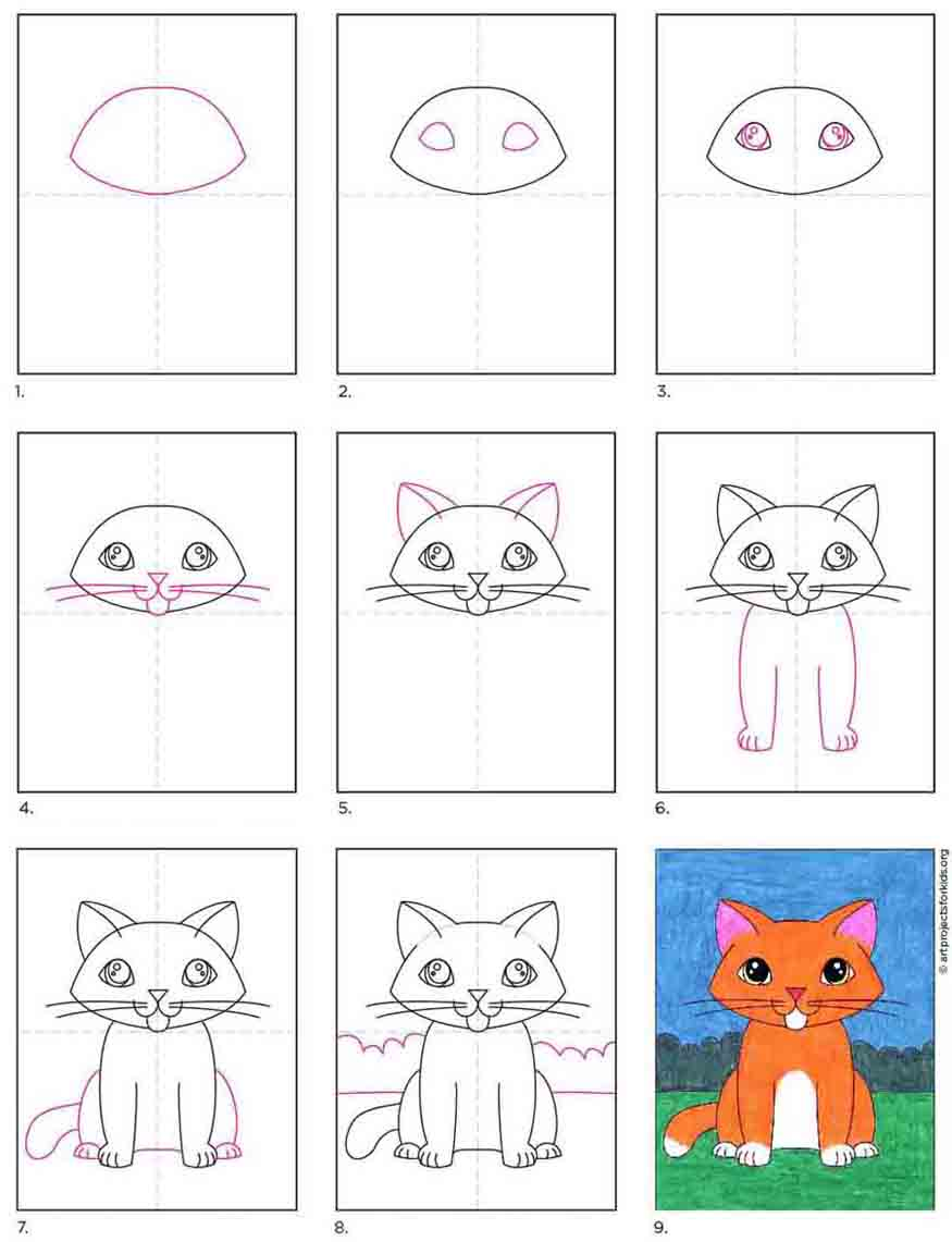 How To Draw A Kitten Art Projects For Kids