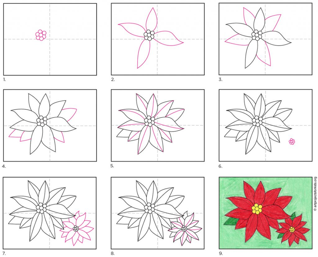 How To Draw A Poinsettia Art Projects For Kids