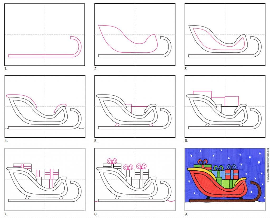 how to draw Santa's Sleigh